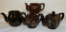 TEA POTS LOT OF 4 BROWN VINTAGE HADSON OCCUPIED JAPAN DECORATIVE JAPANESE SET !