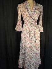 Vintage sheer 100% Cotton voile Robe 30's long Dressing gown Wrapper S XS floral