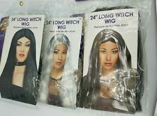 """Adult Ladies 24"""" Long Wig Black Silver Witch Fancy Dress"""