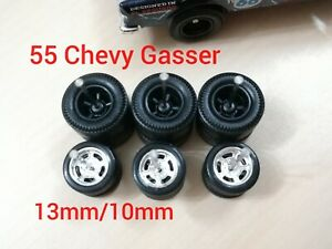 REAL RIDERS WHEELS RUBBER TIRES 55 CHEVY GASSER 3 SETS 1/64 HOT WHEELS Black/Chr