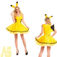 Sexy Ladies Pikachu Pokemon Cartoon Adult Fancy Dress Halloween Cosplay Costume/