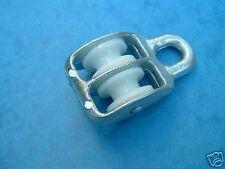 15mm Doble Polea bloque Ojo fijo Nylon Rueda cinc plateado para adaptarse a Cuerda Hasta 5mm