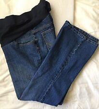 Two Hearts Maternity Elastic Waist Blue Jeans, Size M