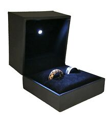 High-End Black LED Lighted Engagement Proposal Ring Gift Box Jewelry Gift Case