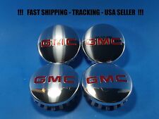 4 Center Caps Chrome Logo For GMC Sierra Yukon 83mm 3.25 2015 - 2017 22837060