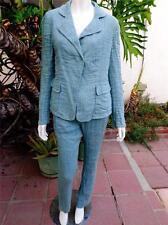 AKRIS Size 10 Pants & Blazer Suit Teal Linen Blend Crinkled MADE IN SWITZERLAND