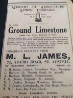 A2-3  Ephemera 1943 Advert Ww2 M L James Ground Limestone St Austell Liming