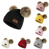 Girls Boys Knit Cap Warm Fur Ball Baby Winter Knit Hat Children Beanie Hats Caps