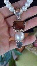 Vintage Barbra Garwood huge pearl necklace / topaz pendant