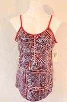 NEW Womens Spaghetti Strap Tank Top Large Red Blue Shirt Ladies Cami Summer SOFT