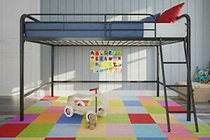 Junior Loft Bed Frame with Ladder, Multifunctional Space-Saving Twin Black