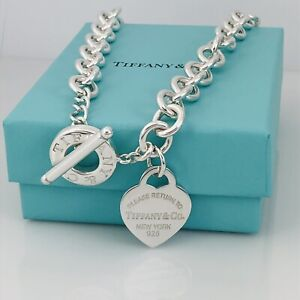 """19.5"""" Large Please Return to Tiffany & Co Heart Tag Toggle Necklace"""