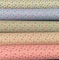 100% Cotton Fabric Blooming Roses Butterflies Blue Green Pink Cream Per Metre