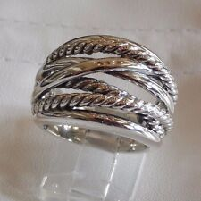 David Yurman New Wide CrossOver Sterling Silver Cable Band Ring Size 7.5 w Pouch