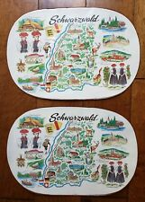 Lot of 2 Vintage German Place Mats Kitchen Table Schwarzwald Deutschland Rhein