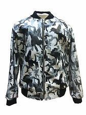 Men Real Leather Camouflage Gray Basseball Varsity Jacket  Size XL