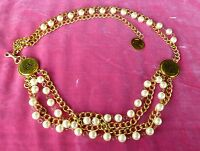 AUTHENTIC VINTAGE CHIC CHANEL BELT OF PEARLS AND CHANEL ORNAMENTS