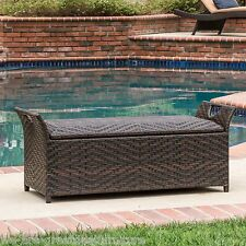 Outdoor Brown PE Wicker Wingback Storage Ottoman