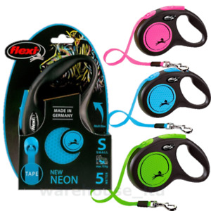 Flexi Neon Reflective Cord or Tape Retractable Dog Leads 3 & 5M - New 2021