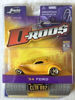 Jada Toys D-Rods 34 1934 Ford Yellow 2005 Wave 1 Die Cast Metal Car 1/64 Scale
