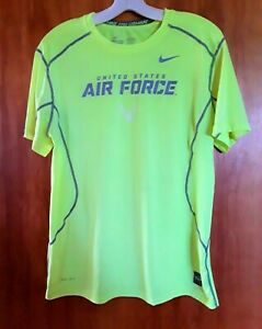 Mens Nike Pro Combat Dri Fit Fitted Neon Athletic Shirt Medium US Air Force EUC