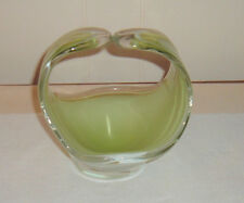 VINTAGE MID CENTURY 1961 SIGNED FLYGSFORS COQUILLE GREEN/WHITE ART GLASS BASKET