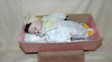 "12"" 1991 BRINN'S PORCELAIN DOLL BROWN HAIR SLEEPING BABY WITH PILLOW W/BOX"