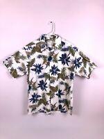 Pierre Cardin Floral Hawaiian Button Down Short Sleeve Collared Shirt Mens XL