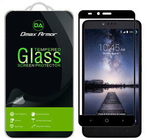 Dmax Armor for ZTE Zmax Pro Tempered Glass Full Cover Screen Protector -Black