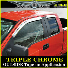 F150 SuperCab Extended Cab 4 Door Chrome Vent Rain Visors Side Shade Guards
