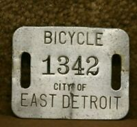 Vintage Rare 40's City East Detroit Michigan Bicycle License Plate Tag Antique