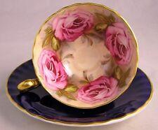 Vintage Aynsley England Cobalt Blue  Pink Cabbage Rose Flowers Tea Cup & Saucer