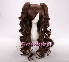 Cosplay Lolita long dark brown Curly Wig with Two Clip On Ponytails +a wig cap