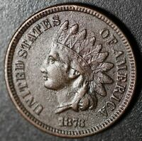 1873 INDIAN HEAD CENT - With LIBERTY - Near VF VERY FINE Details *RARE CLOSED 3*