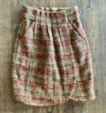 Anthropologie ODILLE Multicolor Brown Tweed Wrap Side Button Skirt Size 2