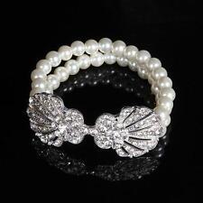 Gorgeous Pearl Bridal Bracelet Rhinestone Shell Buckle Beach Wedding Jewelry
