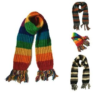 100% Wool Stripe Scarf Thick Knitted Long Rainbow Cosy Winter Present Warm