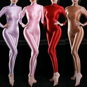 Lady Silky Oiled Shiny Catsuit Bodysuit Sexy Bodycon Costume Playsuits Cosplay