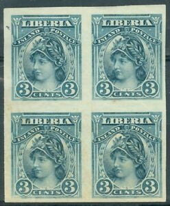 Liberia 1903, 3c Liberty Inland Postage, BLOCK(4) color trial proof in blue #94