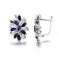 925 Sterling Silver Sapphire Zircon Women Jewelry Engagement Clip Earrings SE040