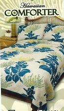 Queen Hawaiian Quilted Quilt Bedding Comforter & 2 Pillow Sham Lehua flower navy