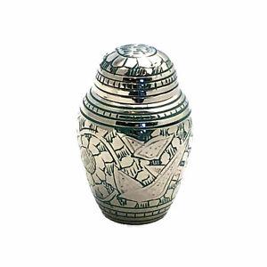 Well Lived® Small Brass Light Green Birds Cremation Urn Keepsake set of 4