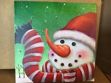 Snowman w Scarf Picture on Canvas w Led Lights Wall Art Christmas Decor