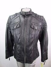 Michael Kors Plus Size 0X Full Zip Black Leather Moto Jacket MSRP $480 MK76