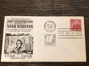 Stamps USA 🇺🇸#1121 4c Noah Webster - Fleetwood FDC