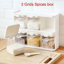 1PC 3Grids Spice Jar Rack Condiment Storage Seasoning Container Kitchen Food Box