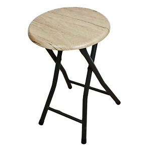 Folding Chair Stool Wooden Round Foldable Kitchen Bar Office Metallic Black Legs