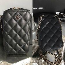 NWT CHANEL Black Caviar Phone Holder WOC Wallet On Chain MINI Crossbody 2018 NEW