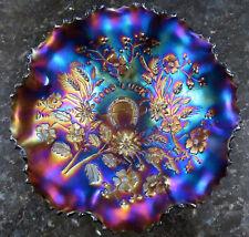 "Northwood GOOD LUCK Amethyst Ruffled Carnival Glass Bowl 9"" Ribbed Back c.1908"