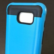 Samsung Galaxy S7 ACTIVE - HARD GUMMY RUBBER HYBRID CASE BABY BLUE BRUSHED METAL